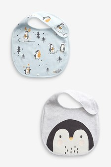 2 Pack GOTS Organic Penguin Christmas Bibs