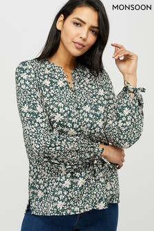 Monsoon Ladies Green Bromount EcoVero Shimmer Blouse