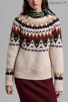 GANT Cream Alpaca Winter Fairisle Pattern Crew Neck Jumper