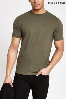 River Island Khaki Slim T-Shirt