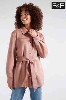 F&F Pink Belted Suedette Coat