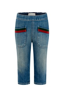 GUCCI Kids Baby Blue Bleached Denim Jeans