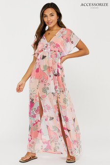 Accessorize Pink Ladylike Print Chiffon Maxi Dress
