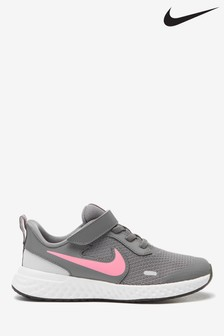 Nike Run Grey/Pink Revolution 5 Junior Trainers
