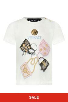 Baby Girls Ivory Cotton Bag Print T-Shirt