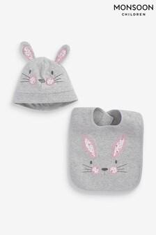 Monsoon Grey Baby Bunny Hat And Bib Set