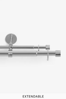 Extendable Double Curtain & Voile Pole Kit