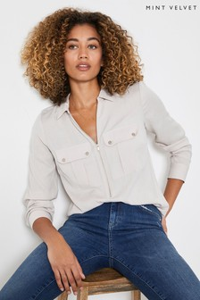 Mint Velvet Natural Utility Zip Front Shirt