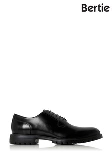 Bertie Scotton Black Leather Cleather Derby Shoes