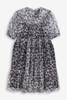 Printed Mesh Dress (3-16yrs)