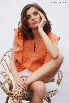 Mint Velvet Orange Lace Insert Ruffle Top