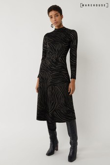 Warehouse Black Zebra Jacquard Midi Dress