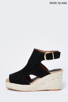 River Island Black Square Toe Cut-Out Shoe Boots