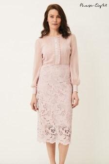 Phase Eight Pink Aldora Chiffon Lace Dress