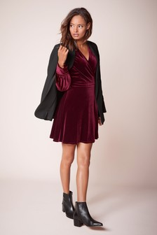 Velvet Wrap Mini Dress