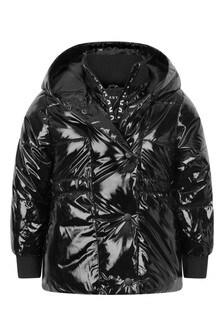 Girls Black Branded Padded Jacket