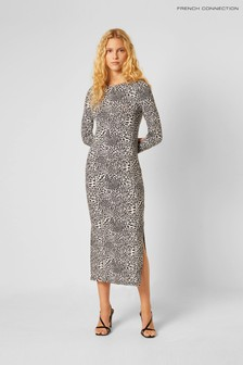 French Connection White Cheetah Jersey Maxi Dress