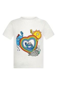 Baby Boys Ivory Rainbow Heart T-Shirt