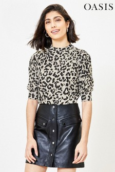 Oasis Natural Leopard Cosy Sweater