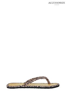 Accessorize Nude Leopard Plait Seagrass Flip Flops