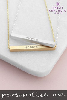 Personalised Horizontal Bar Necklace by Treat Republic