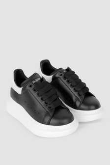 Kids Black/White Leather Trainers