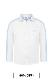 Boys White/Blue Cotton Oxford Shirt