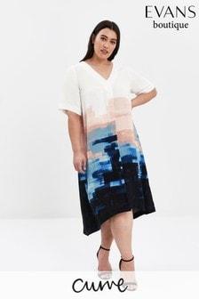 Evans Curve Multi Boutique Pastel Border Print Dress