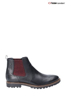 Base London® Black Wilkes Waxy Pull-On Chelsea Boots