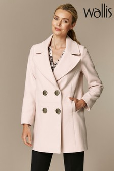 Wallis Pink  Blush Double Breasted Coat