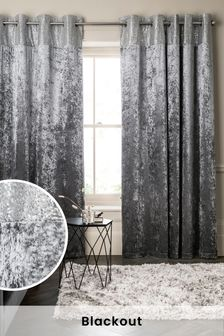 Silver Grey Sequin Border Velvet Eyelet Lined Curtains