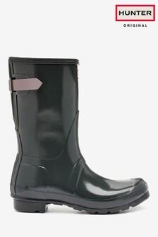 Hunter Grey Original Back Adjustable Short Wellington Boots