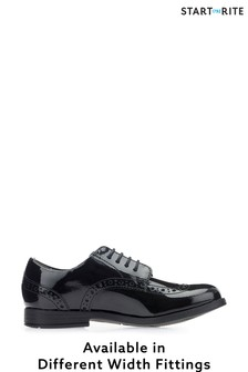 Start-Rite Brogue Snr Black Patent Leather Shoes