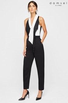 Damsel In A Dress Black Azalea Tuxedo Tassel Jumpsuit
