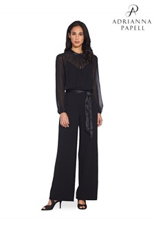Adrianna Papell Black Knit Crepe And Chiffon Jumpsuit