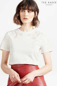 Ted Baker White Franky Lace Inserted Relaxed T-Shirt