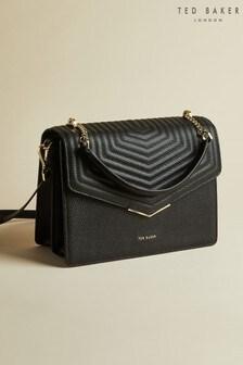 Ted Baker Black Brittni Leather Quilted Envelope Bag