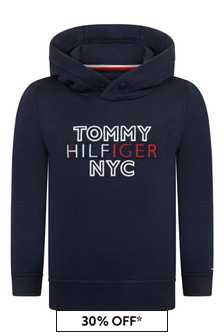 Boys Navy Cotton Logo Print Hoody