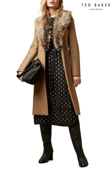 Ted Baker Tan Corinna Faux Fur Collar Wrap Coat