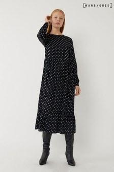 Warehouse Black Spot Print Tiered Midi Dress