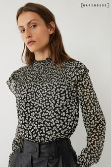 Warehouse Black Little Leaf Smock Top