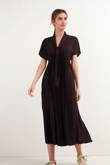 Tie Neck Short Sleeve Midi Dress