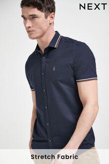 Stretch Oxford Tipped Collar Short Sleeve Shirt