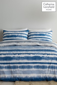 Catherine Lansfield Tie Dye Seersucker Duvet Cover and Pillowcase Set