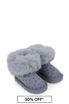 Girls Grey Suede Boots With Faux Fur Trim