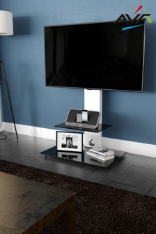 AVF Lucerne Curved Pedestal TV Stand 700 Satin White / Black Glass