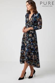 Pure Collection Blue Printed Collared Dress