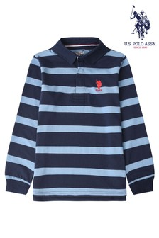U.S. Polo Assn. Blue Brand Stripe Rugby Shirt