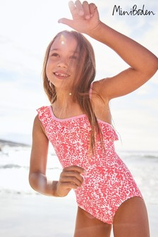 Mini Boden Pink One Shoulder Frill Swimsuit