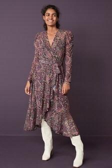 Mesh Wrap Midi Dress